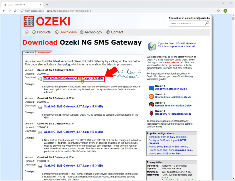 downloading the ozeki ng sms gateway