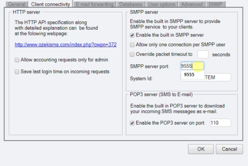 changing the port number of the smpp server