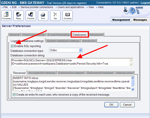 enable sql logging in the sms gateway