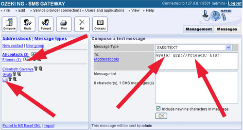 Add contacts or groups to the recipient's list