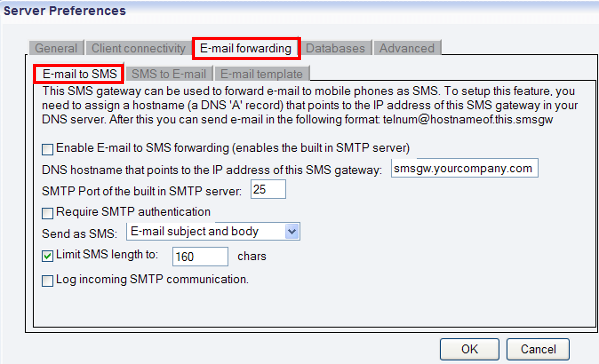email to sms tab