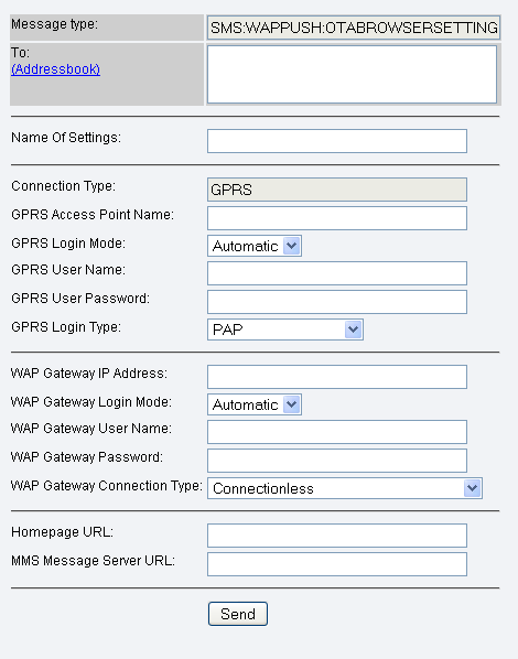 wap browser settings, gprs connection type