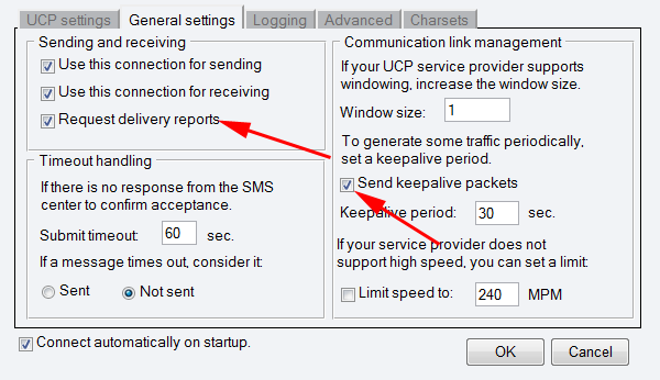 enable delivery report request and increase the keepalive interval