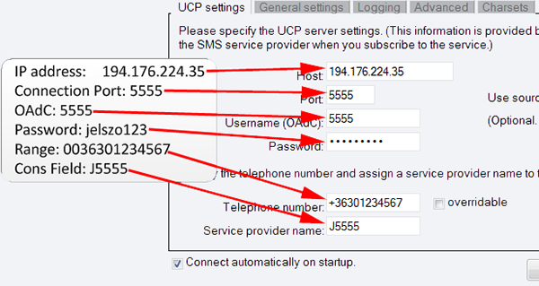 ucp connection settings