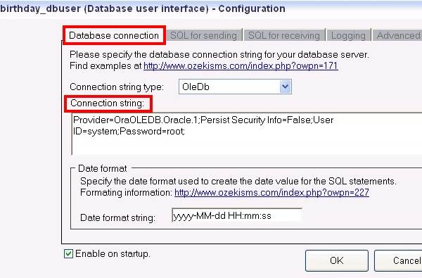 configuration of database user