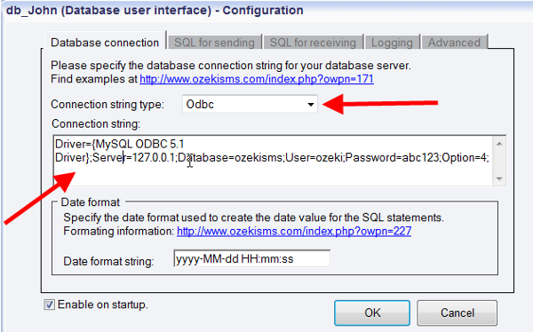 setting up a database connection