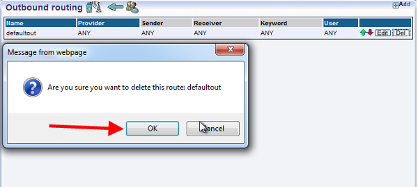 allowing the delet of the default route