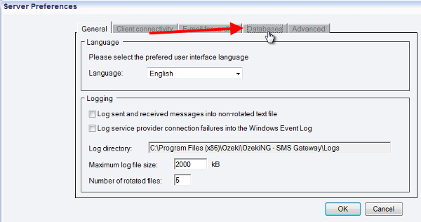 the database tab in sms gateway
