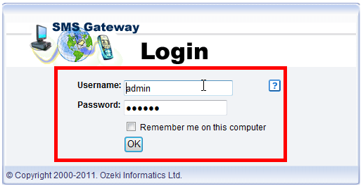 logging into sms gateway with you username and password