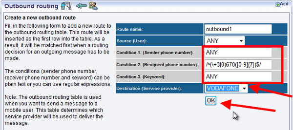 specifying another service provider in sms gateway