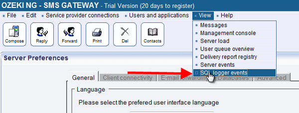 sql logger events tab in sms gateway