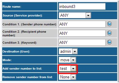 Inbound sms routing list management