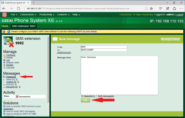 sms interface in the pbx