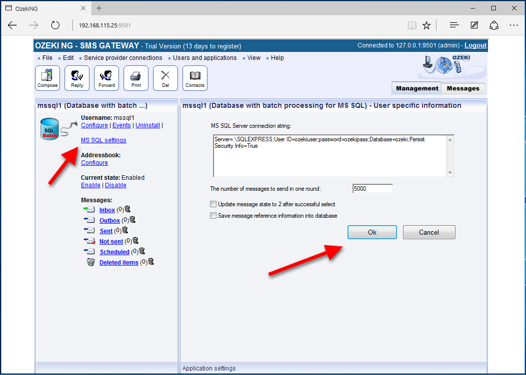SMS Gateway - SMS from/to database, MS SQL high speed